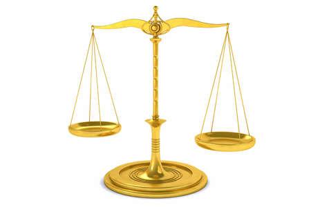 balanza justicia: 3D Equilibrio aislada o fondo de escala para la medida. Justicia, ley o decisiones concepto. Foto de archivo
