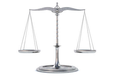 justice scale: 3D Isolated Balance or scale Background for measure. Justice, law or decisions concept.