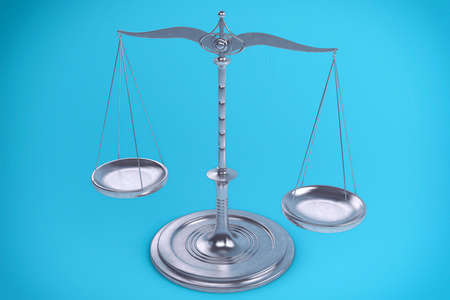 scale of justice: 3D Isolated Balance or scale Background for measure. Justice, law or decisions concept.