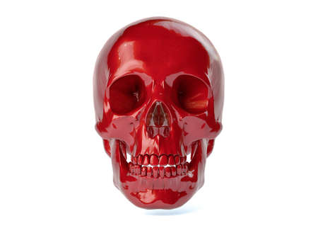 red metal: 3D Isolated Human Skull.