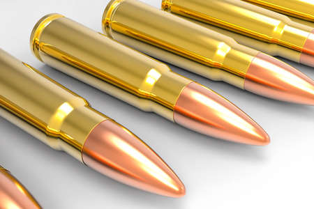 ak47: Isolated 3D AK47 Bullets Stock Photo