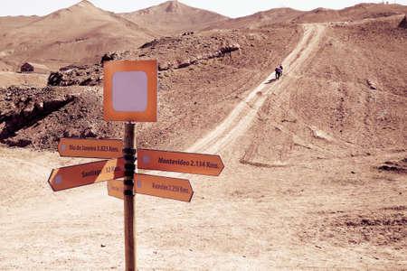 nevado: Way sign in Valle Nevado, Chile.