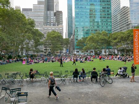 New York - Sep 2017: People in Bryant Park, New York City, USA Editorial