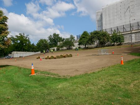 Washington DC - Sep 2017: Green replacement close to United States Capitol building, home of the Congress in Washington DC, USA