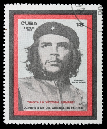 che guevara: Stamp on a black background. Editorial
