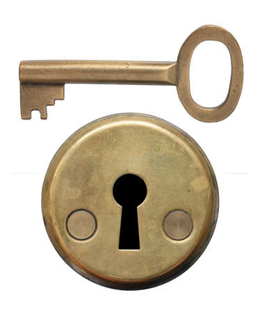 key holes: Key and keyhole on white background. Stock Photo