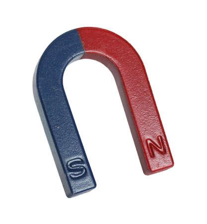 magnetismo: Magnete su uno sfondo bianco.
