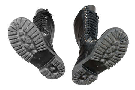rubber sole: Black boots on a white background.