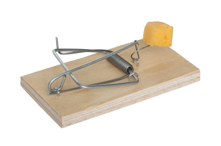 Mousetrap with cheese isolated on a white background. Stock Photo