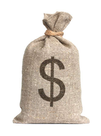 dollar bag: Bag from a sacking isolated on a white background. Stock Photo