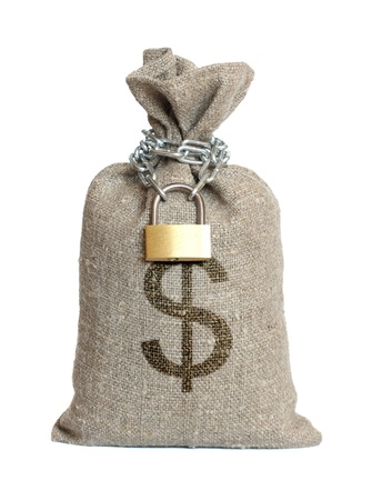 sack cloth: Bag with dollars isolated on a white background.