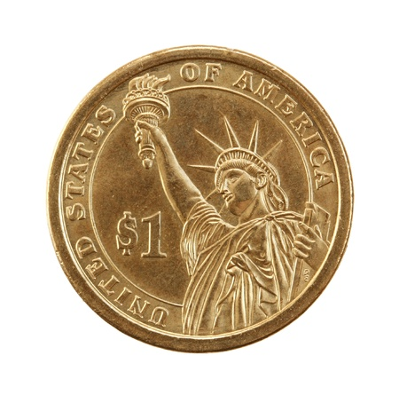 obverse: Coin one dollar isolated on a white background.