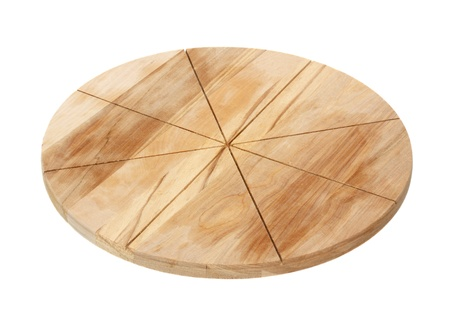 Chopping board for a pizza isolated on a white background. photo
