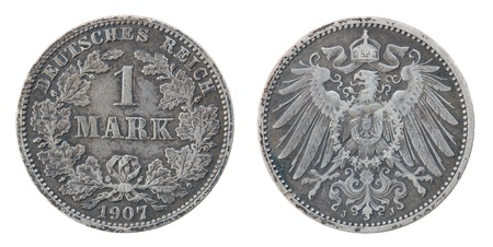 german mark: Ancient silver German coin isolated on a white background.