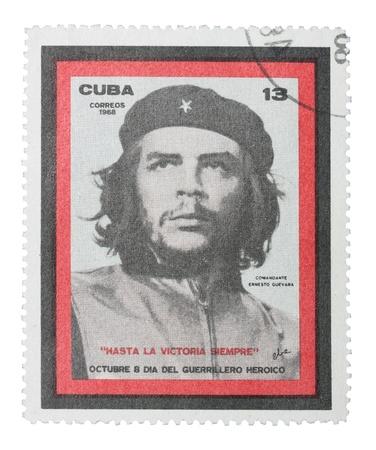 Ernesto Che Guevaras portrait on cuban mark.