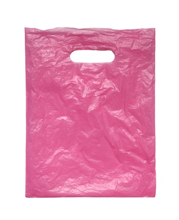 Pink plastic bag on a white background. photo