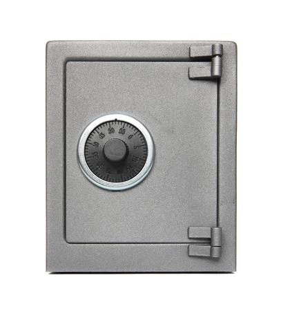 De metalen veilig op een witte achtergrond Stockfoto