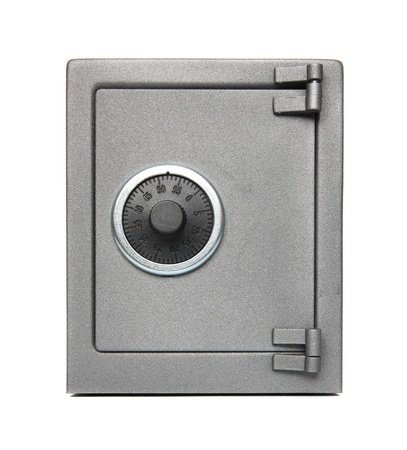 The metal safe on a white background