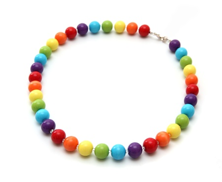 frippery: Color beads close up on a white background. Stock Photo