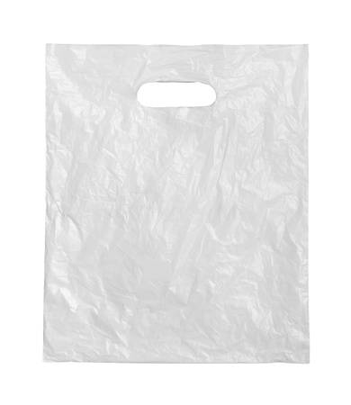plastic material: White plastic bag on a white background. Stock Photo