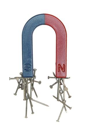 Magnet en nagels op een witte achtergrond. Stockfoto
