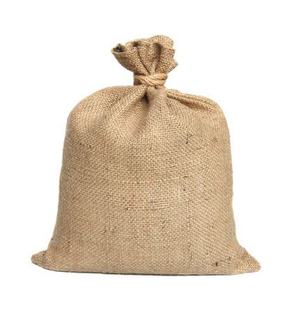 Bag from a sacking isolated on a white background. Stock Photo