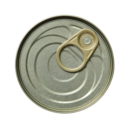 Close up top side of tin can on white background. photo