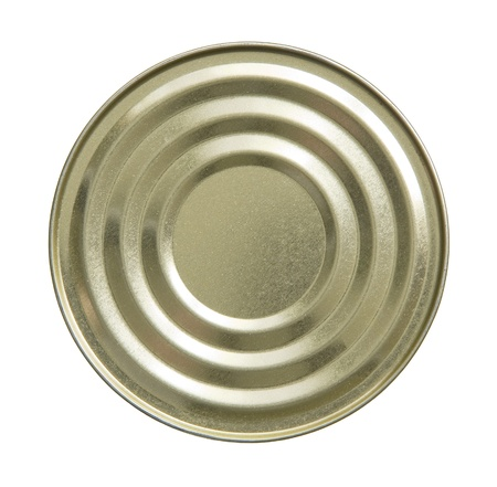 Close up top side of tin can on white background.