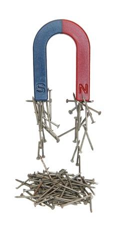 magnetismo: Magnete e chiodi isolati su uno sfondo bianco. Archivio Fotografico