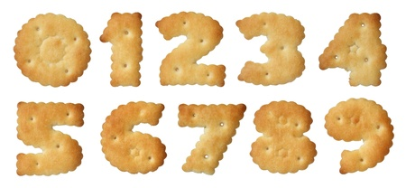 4 7: Set of crackers of a different form on a white background.