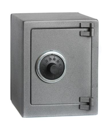 The metal safe on a white background. Foto de archivo