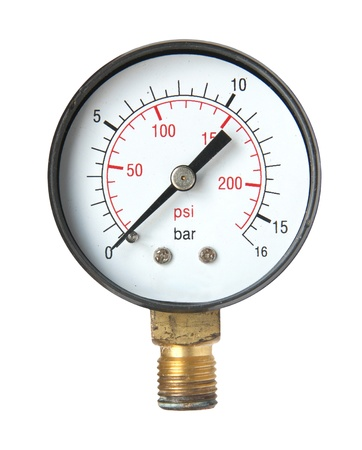 metering: Pressure measuring instrument isolated on a white background.