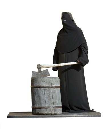 The executioner with an axe on a white background. photo