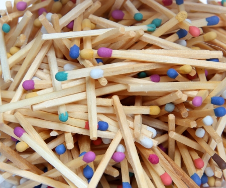 matchstick: Background. Heap of color matches close up.