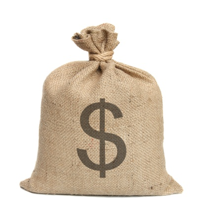 bag of money: Bag from a sacking isolated on a white background. Stock Photo