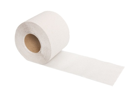 Toilet paper roll on a white background.