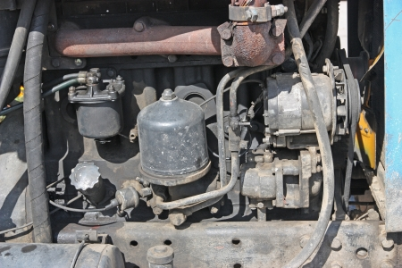 The old engine from a tractor close up. photo