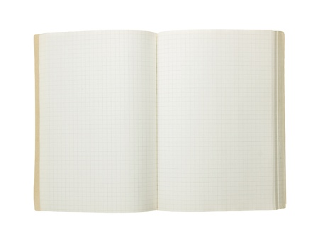 Open notebook isolated on a white background. photo