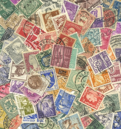 stamp collecting: Background of stamps mail of the different countries.
