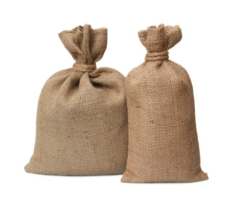 sack cloth: Bags from a sacking isolated on a white background. Stock Photo