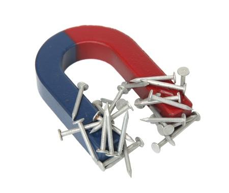 magnetismo: Magnet e chiodi isolati su uno sfondo bianco. Archivio Fotografico