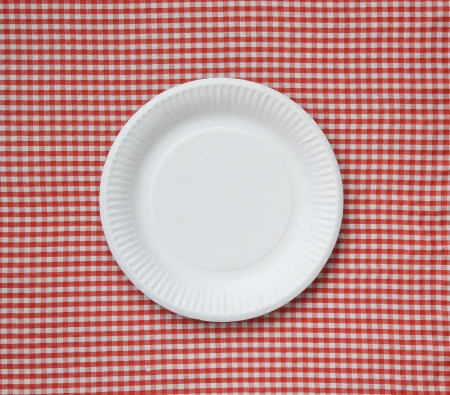 paper plates: Disposable paper plate on a checkered cloth. Stock Photo