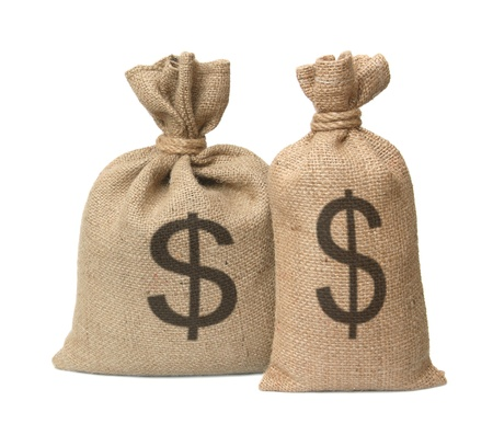 hessian bag: Bag from a sacking with dollars isolated on a white background. Stock Photo