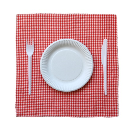 paper plates: Disposable paper plate on a checkered cloth isolated on a white background. Stock Photo