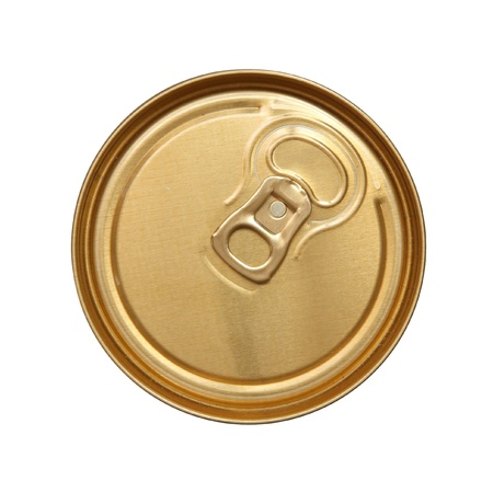 single beer: The closed can of beer. Top view.