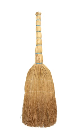 broomstick: Broom from a sorghum for a floor on a white background. Stock Photo