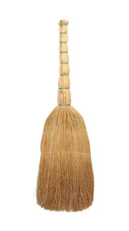 Broom van een sorghum voor een vloer op een witte achtergrond. Stockfoto