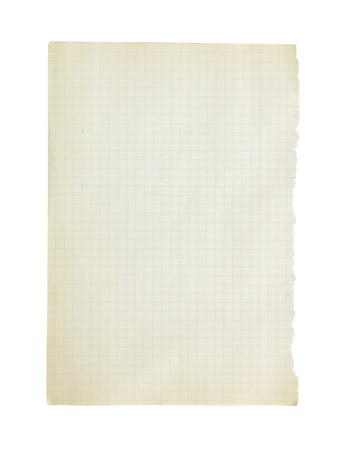 graph paper: The page from a notebook isolated on a white background.