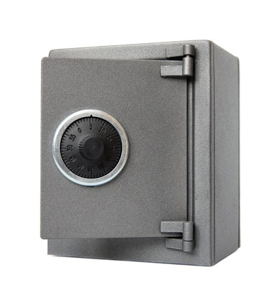 combination: The metal safe on a white background. Stock Photo