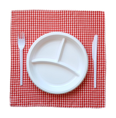 picnic table: Disposable plastic plate on a checkered cloth.